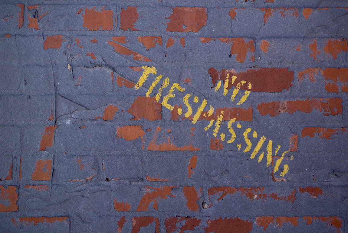 No trespassing stenciling on the roof of Varney's on Mar. 7, 2015.