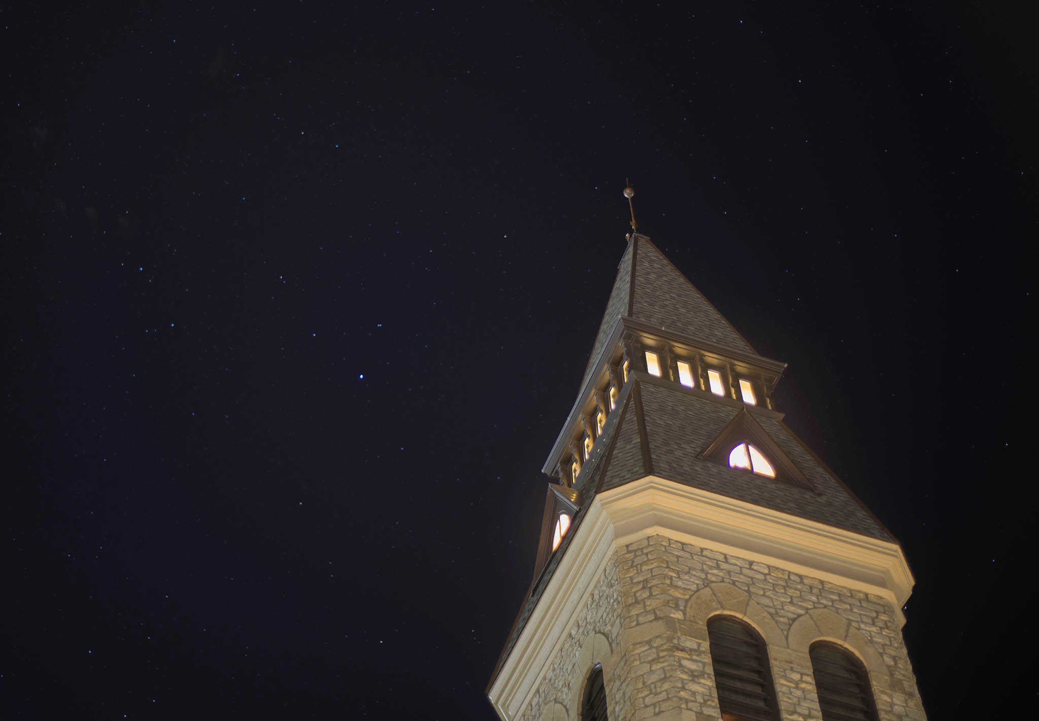 Anderson Hall in front of stars on the night of Oct. 16, 2014